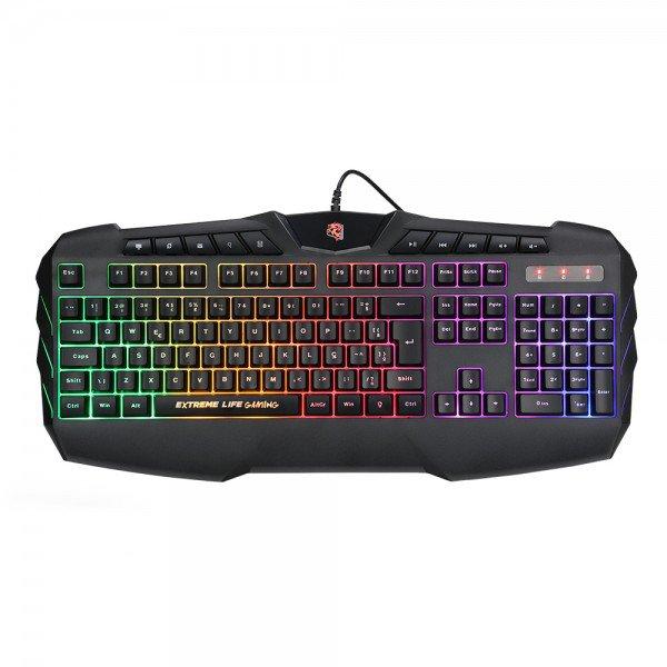 teclado gamer membrana tripla 120 teclas iluminado hybrid mechanical pulse fire tghmpf elg 1