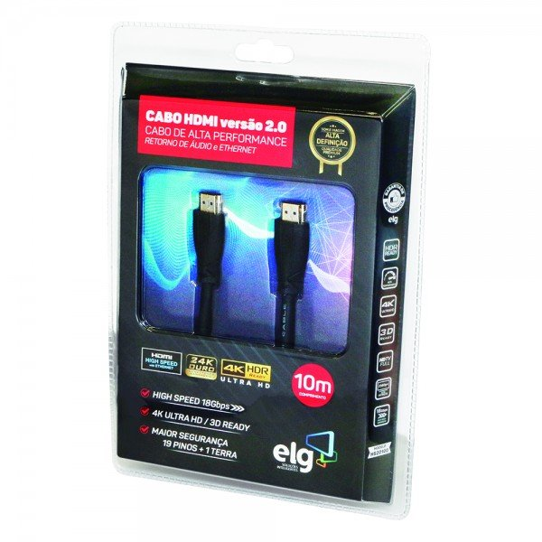 cabo hdmi 10m versao 2 0 high speed ethernet 3d 4k hs20100 elg 1