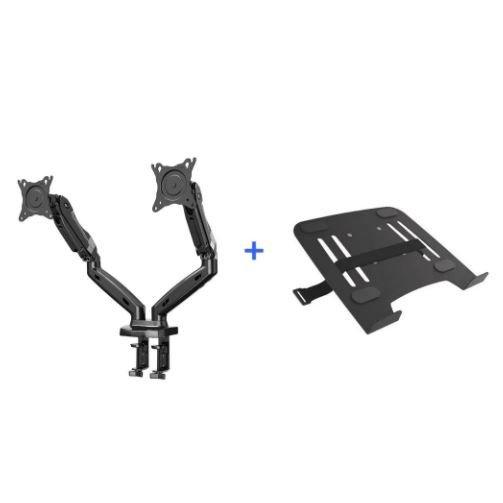 kit suporte articulado de mesa 2 monitores pistao a gas f160n elg bandeja apoio notebook nbh 1 1