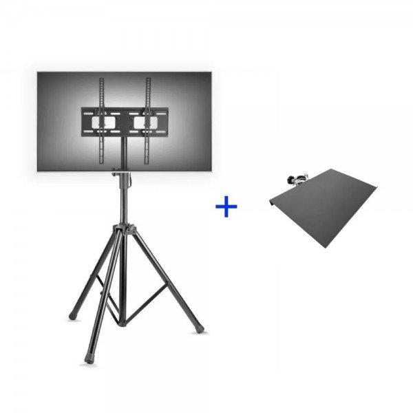 Suporte pedestal de chão tipo tripé para TV mais bandeja de notebook