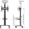 pedestal para tv 32 a 65 suporte videoconferencia com rodizios a06 1551 elg 7